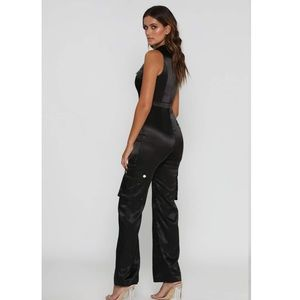 Meshki Pants - JADA SATIN JUMPSUIT - BLACK